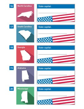 State Capitals Worksheets | USA