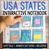 USA State Capitals, Abbreviations, and Regions Interactive Notebook Flaps
