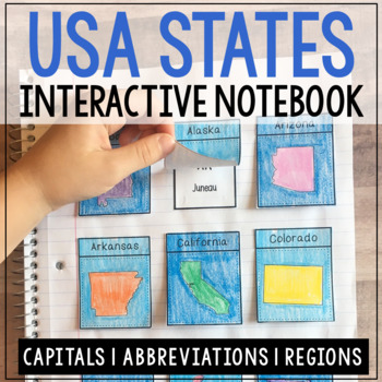 USA State Capitals and Abbreviations Interactive Notebook,