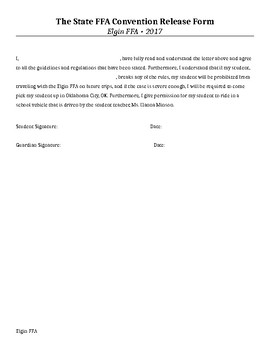 FFA State Convention Sample Letter