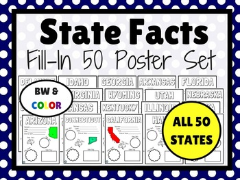 50 STATES Fill-In Poster Bundle