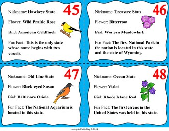 State Facts Task Cards