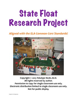 State Float Research Project {Aligned with Common Core}