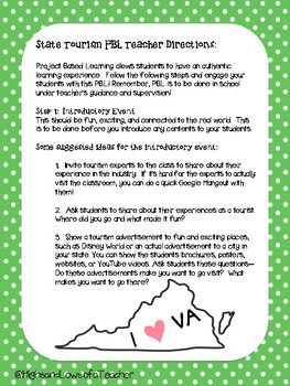 State Geography PBL- State Tourism Project