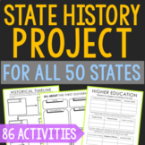 State History Research Project for ALL 50 States   Social Studies Activities