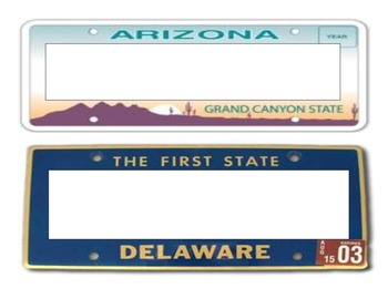State License Plate Name Plates