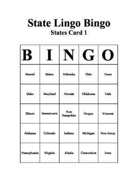 State Lingo Bingo Game for teaching states and capitals through movement