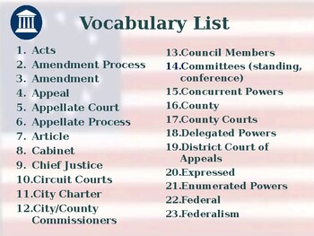 State & Local Government - Unit Vocabulary Exercise