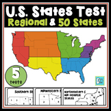 United States Map Tests - 4 Regions & 50 States