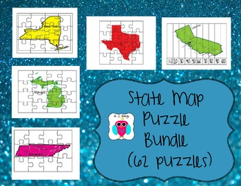 State Map Puzzle Bundle 62 Puzzles By Aj Bergs Tpt