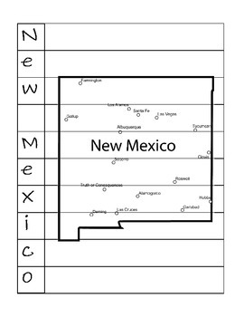 State Name Spelling Puzzle- New Mexico