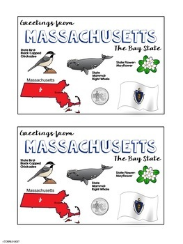 State Postcard Massachusetts