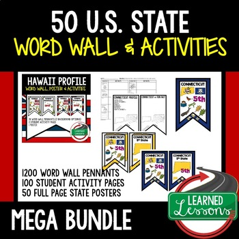State Profiles Word Wall Pennants, Activity Pages, Posters  (United States)