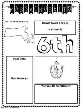 State Profiles: Massachusetts Notebooking Pages