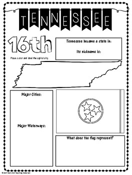 State Profiles: Tennessee Notebooking Pages