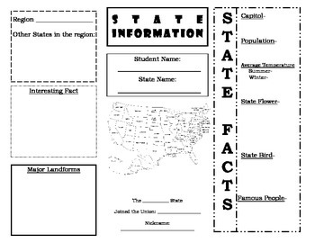 State Project Brochure Graphic Organizer