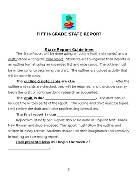 State Report - Outline, Rubrics and Poster