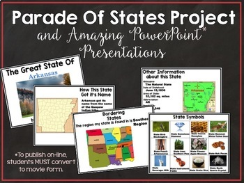 State Report and Float Project:  Student Editable PowerPoint State Report