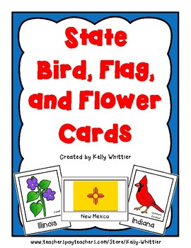 State Research Cards Bundle - Birds, Flags, and Flowers