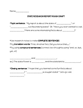 State Research Note sheet with Outline for Writing