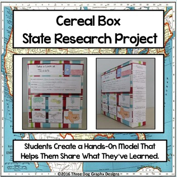 State Research Project - Hands On Cereal Box Presentation Activity Common Core