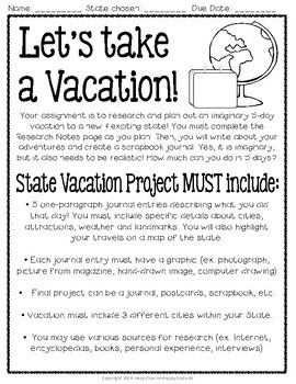 State Research Project: Plan a Vacation Anywhere in the U.S.A.!