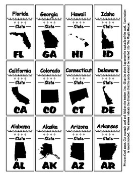 State Shadow Abbreviation Magic House Cards - Geography Center Support