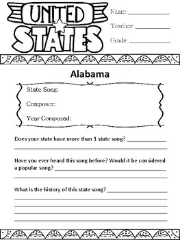 State Songs Reseach Packet