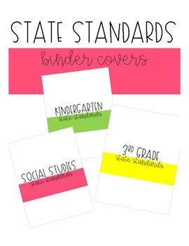 State Standards Binder Covers