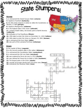 State Stumpers! ~ State Facts Crossword Puzzle