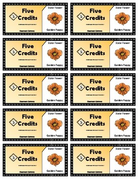 State Symbols Classroom Currency (California)