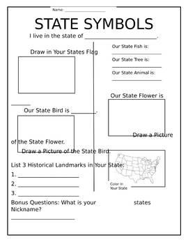 State Symbols Worksheet
