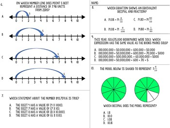 State Test Aligned 32 Question Place Value Number line and Decimal Practice Test