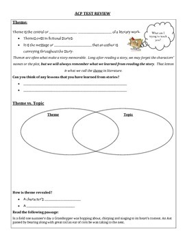 State Test Review Packet (point of view, theme, main idea, inferences, &more)