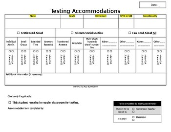 State Testing Accommodation Page Individual Editable
