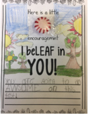 State Testing Buddy Class Note of Encouragement - I beLEAF in YOU!