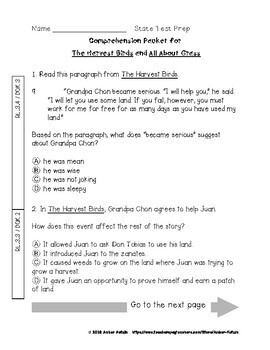The Harvest Birds State Test Prep - 3rd Grade Journeys