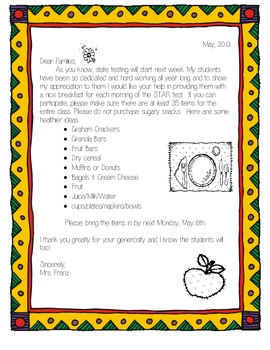 State Testing English/Spanish Translated Letter to Parents...