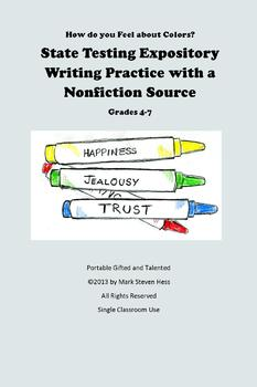 State Testing Expository Writing Practice Prompt with Nonfiction Grades 4-7