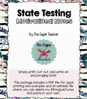 State Testing Motivation Note Cards