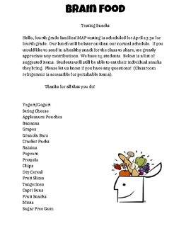 State Testing Snack Letter Home