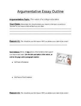 State Testing Style Argumentative Essay Outline