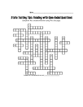 State Testing Tips Crossword Activity Printable for Reading Portion
