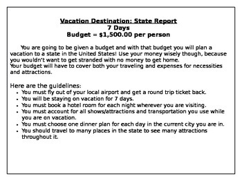 States vacation teaching resources teachers pay teachers state vacation travel project state vacation travel project fandeluxe Gallery