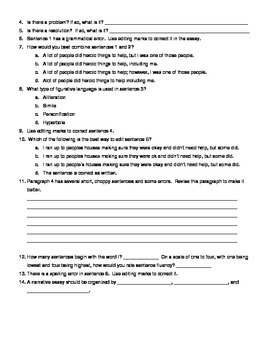 State Writing Test Review for Narrative Writing