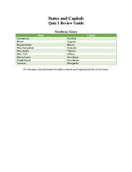 State and Capital Quizzes Review Guides