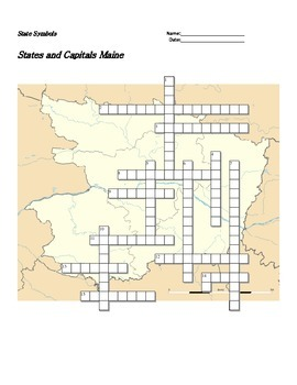 States and Capitals - Maine State Symbols Crossword Puzzle