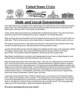 State and Local Government Article and Assignment