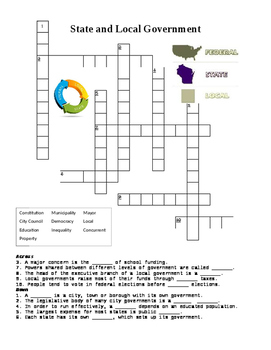 US Government: State and Local Government Crossword or Web Quest