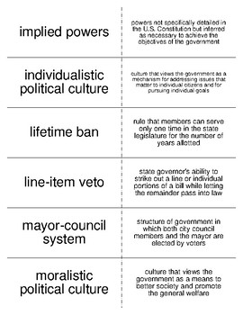 State and Local Governments Vocabulary Flash Cards for American Government